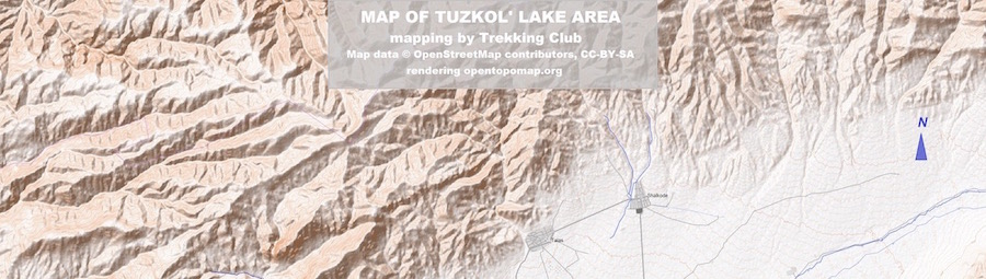 Tuzkol and Komirshi area map