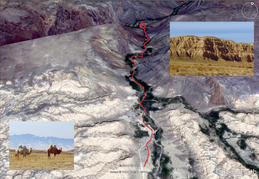 hiking map by Zhabyr Canyon